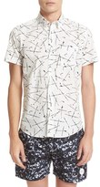Saturdays Nyc Men's Esquina Marks Print Slim Fit Sport Shirt