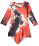 Hybrid Terracotta & Black Tie-Dye Handkerchief Tunic - Toddler & Girls