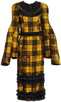 Comme des Garcons Tartan Ruffled Cape-Sleeve Midi Dress