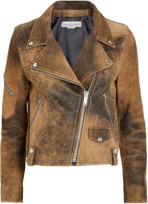 Golden Goose Hanna Distressed Leather Moto Jacket