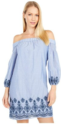 Vince Camuto Embroidered Cotton Off-the-Shoulder Shift (Navy) Women's Dress
