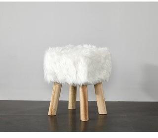 Idea Nuova Square Faux Fur Stool
