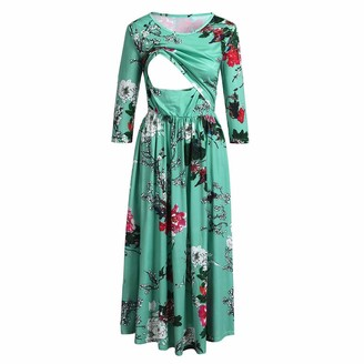ClodeEU Women's Maternity Dress Pregnancy Nightwear Double Layers Nursing Dress Ladies Floral Print Summer Beach Casual Holiday Maxi Day Breastfeeding Dress Green