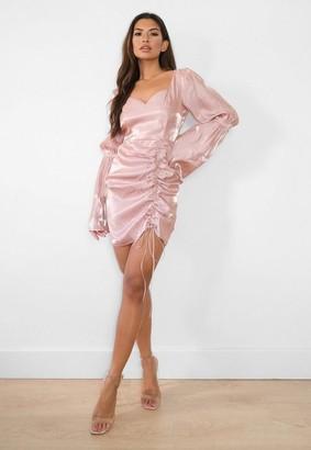 Missguided Mocha Trumpet Sleeve Ruched Satin Mini Dress