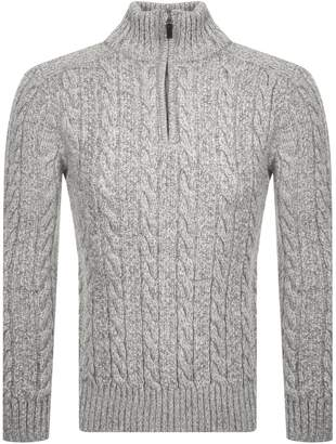 Superdry Orange Label Half Zip Knit Jumper Grey