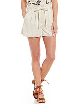 Blu Pepper Paper Bag Waist Tie-Front Linen-Blend Shorts