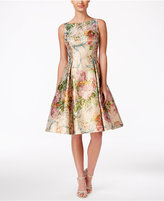 Adrianna Papell Metallic Floral-Print Fit & Flare Dress