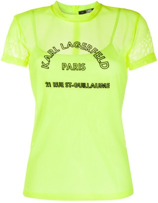 Karl Lagerfeld Paris Rue St-Guillaume mesh T-shirt