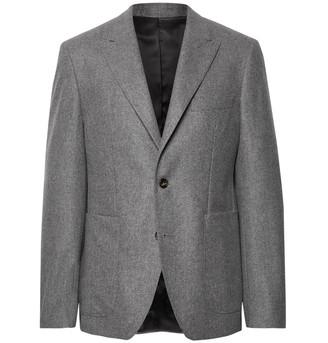 Salle Privée Anthracite Lloyd Melange Wool-Flannel Suit Jacket
