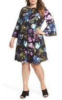Gabby Skye Plus Size Women's Floral Bell Sleeve A-Line Dress