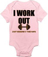 Laughing Giraffe I Work Out, Just Kidding I Take Naps Baby Onesie (3-6 Months, )