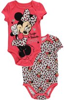 "Disney Minnie Mouse Baby Girls' ""Leopard Minnie"" 2-Pack Bodysuits"