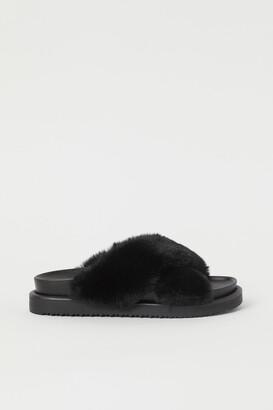 H&M Faux Fur Slippers