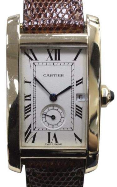 Cartier Tank Americaine 1716 18K Yellow Gold & Leather Band 23mm Mens Watch