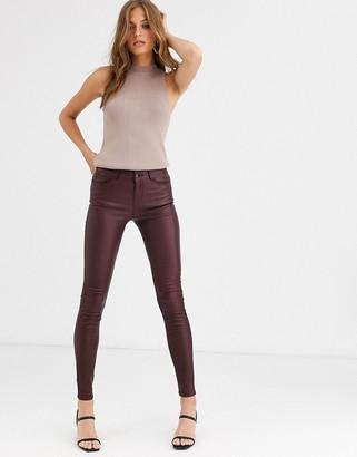 Vero Moda coated skinny jeans in burgundy
