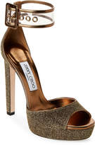 Jimmy Choo Gold Mayner Two-Piece Ankle Strap Platform Sandals