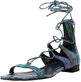 Stuart Weitzman Metallic Multicolor Python Embossed Suede Tie Up Gladiator Flat Sandals Size 38