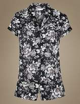 Marks and Spencer Satin Floral Print Short Pyjama Set