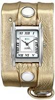 La Mer Women's LMMTW1001 Silver-Tone Watch with Metallic Gold-Tone Leather Wraparound Band
