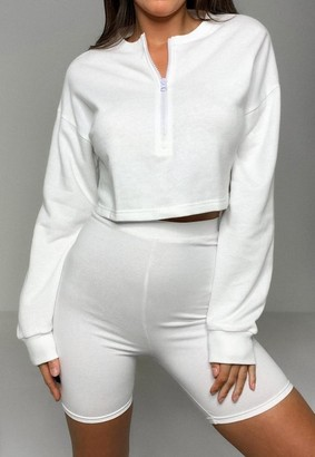 Missguided White Half Zip Sweatshirt And Biker Shorts Co Ord Set