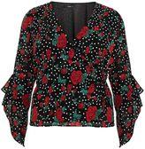 Quiz Curve Black And Red Chiffon Polka Dot Top