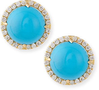 Frederic Sage Turquoise Cabochon & Diamond Stud Earrings