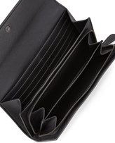 Bottega Veneta Woven Leather Flap Wallet, Black