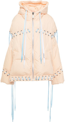 KHRISJOY Lace-up Quilted Shell Hooded Down Jacket