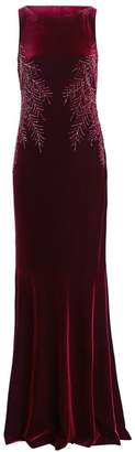 Teri Jon By Rickie Freeman Embellished Cowl-Back Velvet Dress