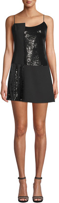 Nicole Miller Sleeveless Sequin Combo Mini Dress