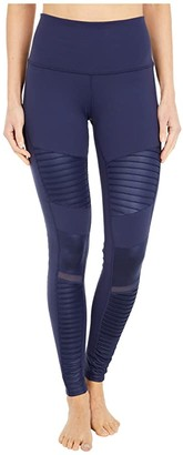 Alo High Waisted Moto Leggings (Rich Navy/Rich Navy Glossy 1) Women's Workout
