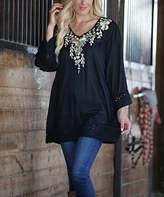 Ananda's Collection Women's Tunics - Gold Embroidery Bell-Sleeve Semi-Sheer V-Neck Tunic - Women & Plus