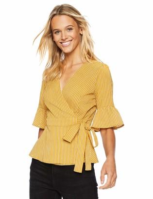 J.o.a. Women's Short Ruffle Sleeve Wrap Top