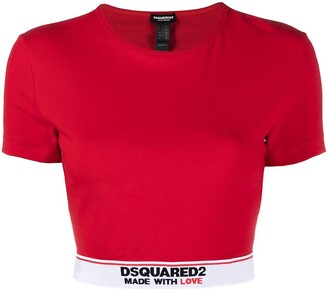 DSQUARED2 Logo Trim Cropped Top