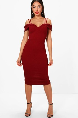 boohoo Strappy Cold Shoulder Midi Dress