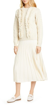 Tory Burch Cable Fringe Wool Sweater