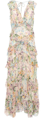 Zimmermann Cutout Ruffled Floral-print Silk-georgette Maxi Dress