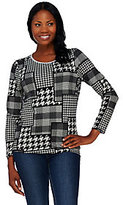 Denim & Co. As Is Houndstooth Printed Round Neck Long Sleeve Top