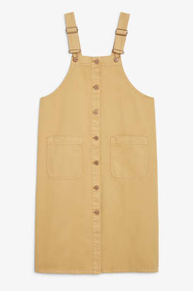 Monki Buttoned denim dungaree dress