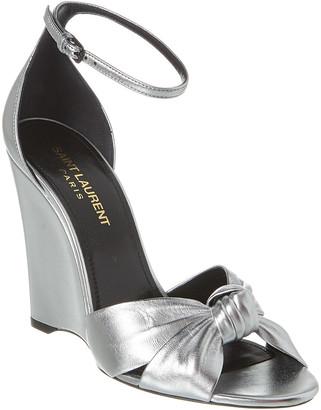 Saint Laurent Lila Leather Wedge Sandal