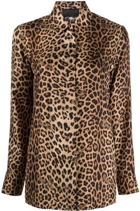Philipp Plein Leopard-Print Logo Silk Shirt