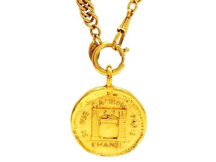 Chanel CC Logo Gold Tone Metal Rue Cambon Paris Medallion Necklace