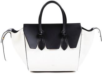 Celine Black & White Calfskin Leather Mini Tie Tote