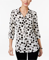 NY Collection Petite Dot-Print Utility Shirt