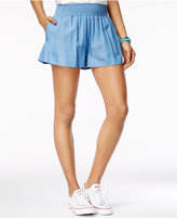 The Edit By Seventeen Juniors' Smocked-Waist Chambray Soft Shorts, Only at Macy's