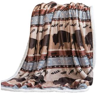 Wrangler Carstens Buffalo Southwestern Sherpa Fleece Throw Blanket, 54