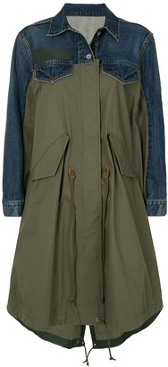 Sacai Denim-Panelled Khaki Jacket
