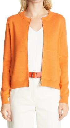 Akris Zip Front Wool & Silk Cardigan