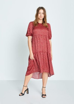 MANGO Violeta BY Polka-dot ruffled dress red - 10 - Plus sizes