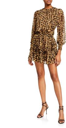 MISA Los Angeles Katia Leopard-Print Ruffle Long-Sleeve Dress